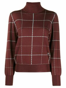 Victoria Beckham stitch pattern turtleneck jumper - Red
