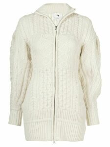 Marine Serre cable knit cardigan - White