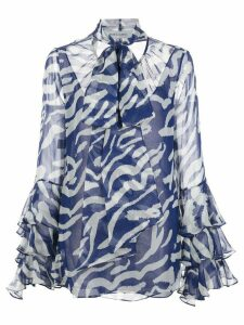 Prabal Gurung ruffled-cuffs silk blouse - Blue