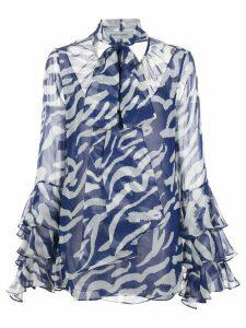 Prabal Gurung ruffled-cuffs silk blouse - Blue