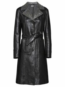 Miu Miu studded lapel leather coat - Black