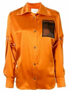 Quetsche contrast pocket silk shirt - ORANGE