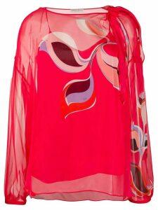 Emilio Pucci graphic print translucid silk blouse - Red
