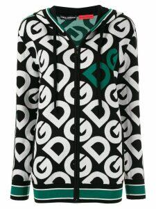Dolce & Gabbana logo knitted zip-up hoodie - Green