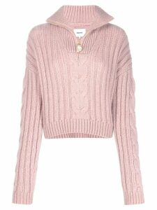 Nanushka high-neck cable-knit sweater - PINK