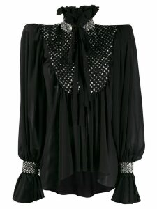 Saint Laurent embellished structured blouse - Black