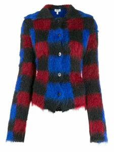 Kenzo checkered textured cardigan - Blue