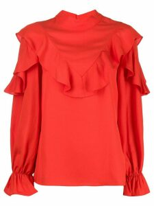 Jovonna Pouf ruffle-trimmed blouse - Red