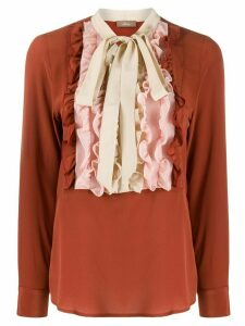 Altea ruffled silk blouse - Brown