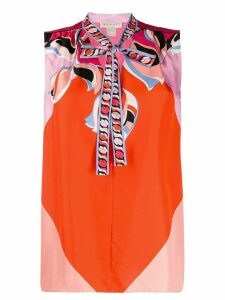 Emilio Pucci pussy bow sleeveless blouse - Orange