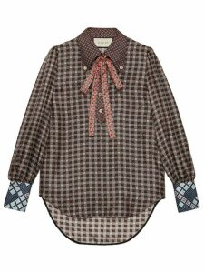 Gucci ribbon detail button down blouse - Brown