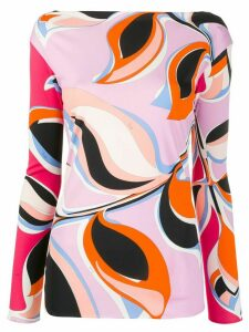 Emilio Pucci printed boat neck blouse - PINK