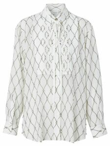 Burberry Crystal Detail Net Print Silk Oversized Tie-neck Shirt -