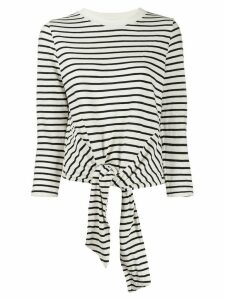 Current/Elliott tie front striped sweatshirt - White