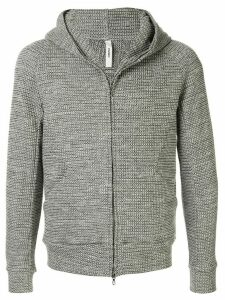 Attachment textured flannel hoodie - Grey