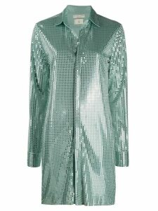 Bottega Veneta sequin-embellished long-line shirt - Green