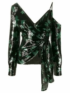 Self-Portrait sequined leaf pattern blouse - Black