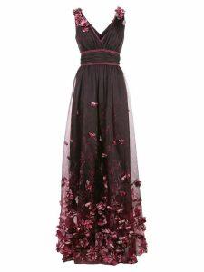 Marchesa Notte floral appliqué gown - PINK