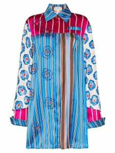Shuting Qiu Oversized striped beaded circle shirt - Blue