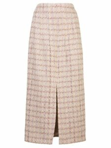 Brock Collection tweed-style front slit skirt - PINK