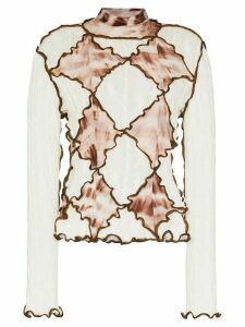 ASAI tie-dye diamond panel turtleneck - NEUTRALS