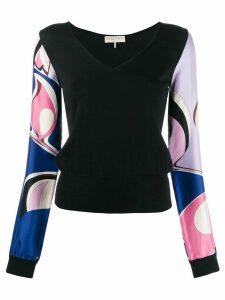 Emilio Pucci contrast printed sleeves top - Black