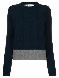 Marni cable knit colour block jumper - Blue