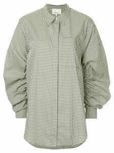 3.1 Phillip Lim Gathered-Sleeve Gingham Shirt - White