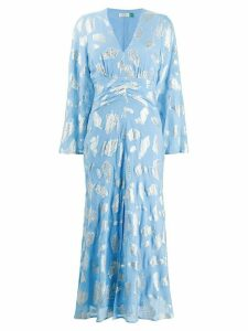 Rixo metallic leaf print dress - Blue