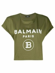Balmain logo cropped T-shirt - Green
