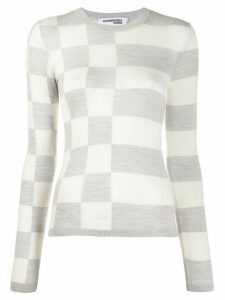 Courrèges asymmetric pattern crew neck sweater - NEUTRALS