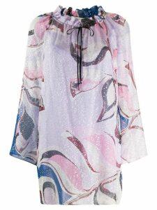 Emilio Pucci peony print ruffled neck blouse - Blue