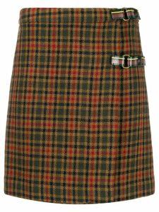 Etro checked wrap mini skirt - Green