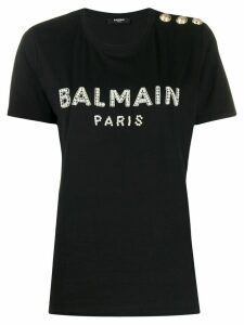 Balmain crystal-embellished logo T-shirt - Black