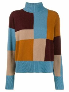 Equipment colour blocked knitted wool jumper - Blue