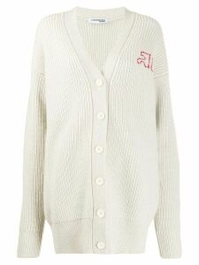 Courrèges oversized knit cardigan - NEUTRALS