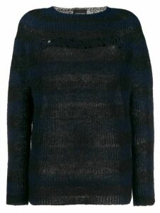 Ermanno Ermanno striped embellished logo jumper - Black