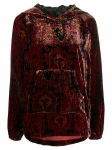 Mes Demoiselles Aubusson velvet hoodie - Red