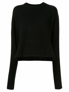 Y's loose fit ribbed knit jumper - Black