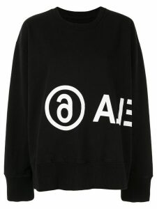 Mm6 Maison Margiela contrasting logo printed sweatshirt - Black