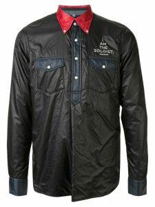 Takahiromiyashita The Soloist logo faux leather shirt - Black
