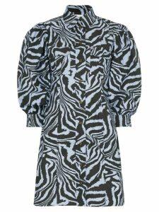 GANNI zebra-print mini shirt dress - Blue