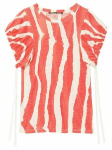 Proenza Schouler striped gathered sleeves T-shirt
