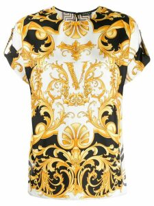 Versace Virtus baroque print silk blouse - White
