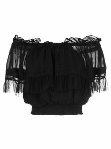 Cynthia Rowley off shoulder tulle top - Black