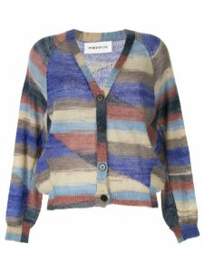 PortsPURE striped relaxed-fit cardigan - Blue