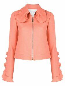 Giambattista Valli ruffle detail cropped jacket - PINK