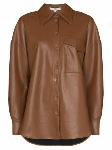 Tibi oversized long-sleeve shirt - Brown