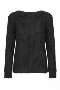Black Knitted Long Sleeve Jumper