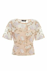 Nude And Lilac Floral Embellished Top